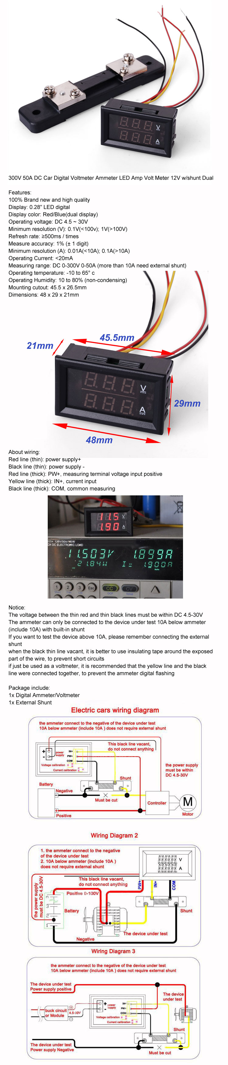 0 300v 50a Dc Digital Led Voltmeter Ammeter Amp Volt Tester Meter Wiring Diagram On For Aeproductgetsubject