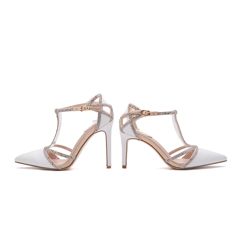 Snake shoes super quality top T-band ivory plus size Scarpin finger dashed ladies high heels wedding rhinestone shoes 34-39