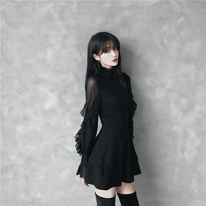 Image 2 - Ruibbit Mini robe gothique pour femme, Punk, tenue tendance, haute qualité, à manches longues, sexy, noir, printemps automne nouveauté