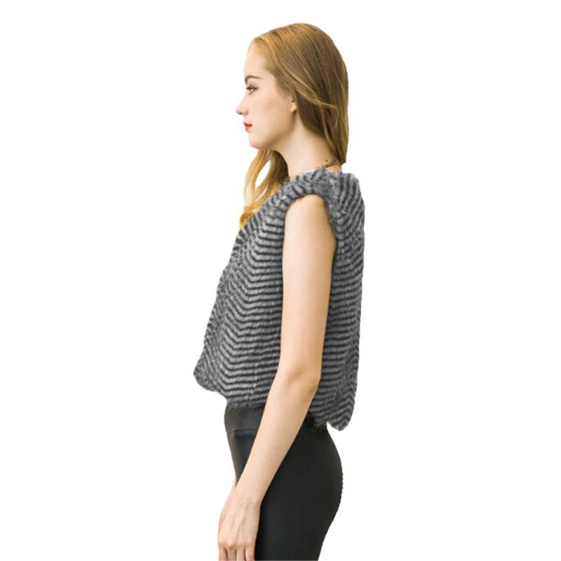 Faux Fox Fur Short Vests Imitation Stripe Jackets Outerwear Sleeveless Cardigan Luxury Waistcoat Colete Veste Femme Coats