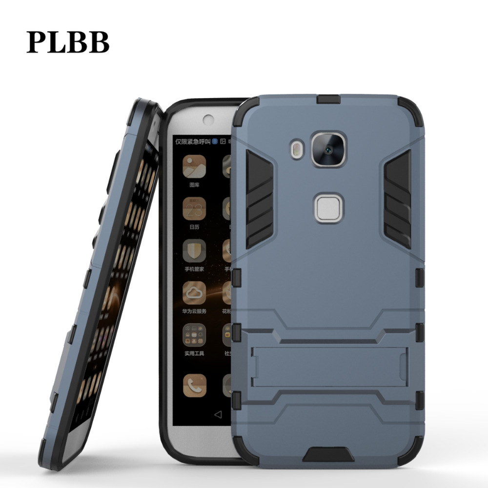 PLBB <font><b>Case</b></font> for huawei G7 Plus Shockproof Hybrid 2 in 1 Armor Hard PC+TPU+Holder <font><b>Phone</b></font> Back Cover For huawei G8 <font><b>GX8</b></font> <font><b>Case</b></font> 5.5&#8243;