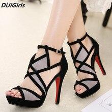 DiJiGirls New Design Women Sandals Platform Summer Shoes Woman Gladiator Sandals High Heels Cropped Stitched Open Toed Sandals 9