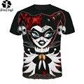 Mulheres engraçadas T-shirt 3D Impresso Alice No País Das Maravilhas Rainha Vermelha T-Shirt Confortável Verão Tops Manga Curta O Pescoço TShirt