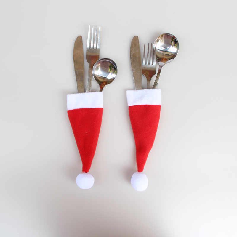 2019 Tahun Baru Selamat Natal Pisau Garpu Sendok Garpu Set Topi Natal Penyimpanan Alat Dekorasi Natal untuk Rumah Xmas