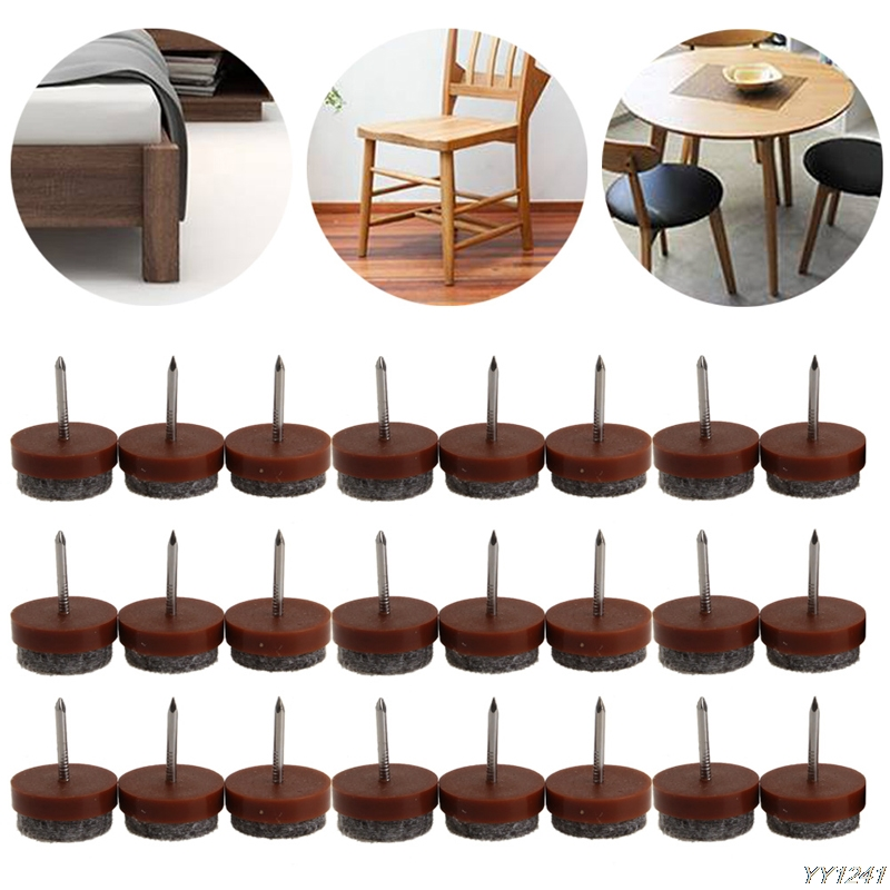 24Pcs 20mm Round No-noise Furniture Table Chair Feet Legs Glides Skid Tile Felt Pad Floor Nail Protector new arrival high quality 50pcs 20mm table chair feet legs glides skid tile felt pad floor nail protector as0028