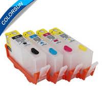 Colorsun 4 pçs para hp 364 cartuchos de tinta impressora tinta para hp 364 xl para hp photosmart 5510 6510 b209a c510a cartucho de impressora