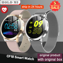 CF18 1.22 Inci Smart Watch Tahan Air IP67 Tekanan Darah Heart Rate Monitor Metal Starp Multi Sport Mode Smartwatch Perempuan Band(China)