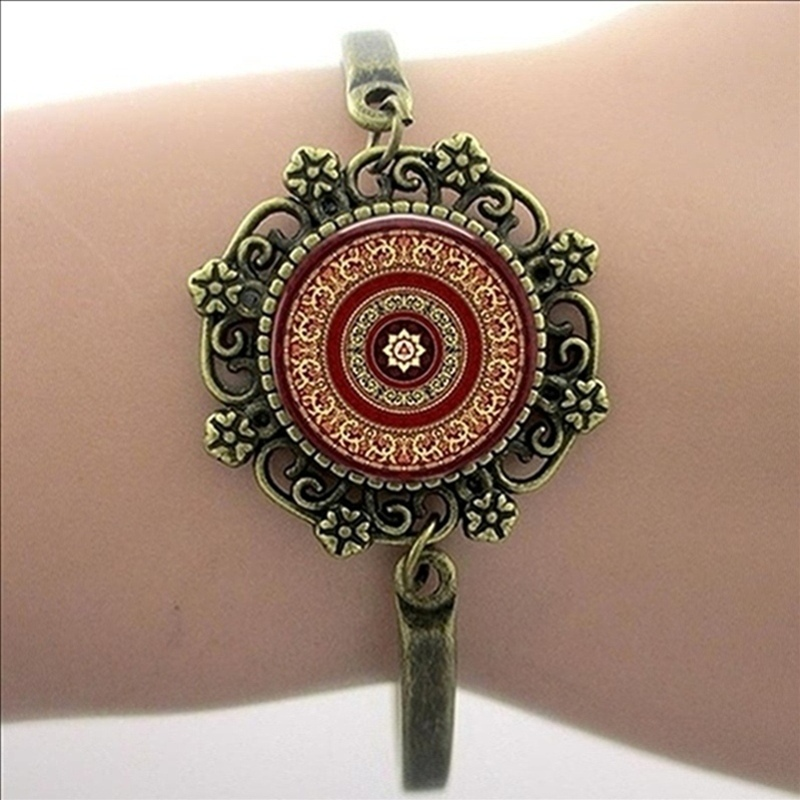 Fashion jewelry moroccan flower mandala glass dome picture bracelet for women jewelry HT138