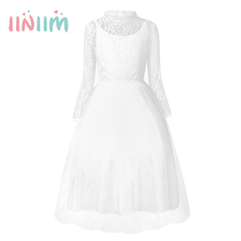 4-14 Year White Flower Girls Dress for Wedding Little Girl Birthday Party Dress Children's First Communion Lace General Clothing new princess white tulle first communion dress lace little girls flower girl dress for wedding baby girls birthday gown