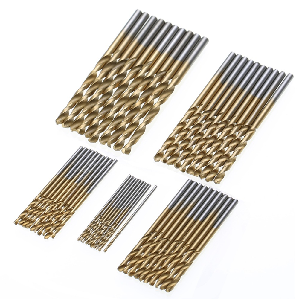 50pcs/set 1/1.5/2/2.5/3mm High Speed Steel HSS Extractor Drill Bit Titanium Coated Drill Woodworking Wood Tool For Metal цена