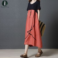 Today Plus 2017 Summer Women Maxi Long Dress Patchwork Loose O Neck Short Sleeve Plus Size