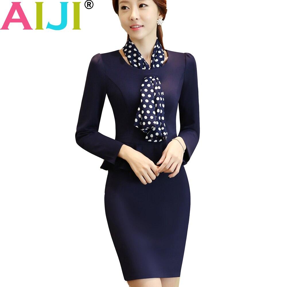 AIJI Autumn spring women OL fashion elegant one-piece dress woman's O-neck work wear slim office business formal plus size
