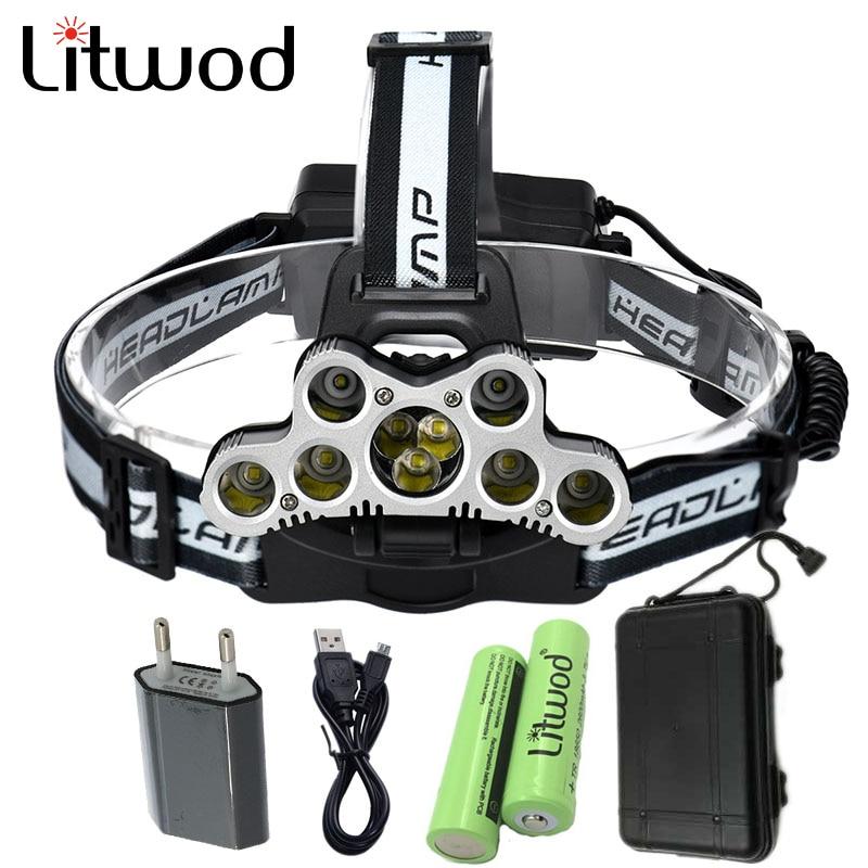 Litwod Z302309 USB 9 CREE <font><b>LED</b></font> <font><b>Led</b></font> Headlamp Headlight head flashlight torch cree XM-L T6 head lamp rechargeable for 18650 battery