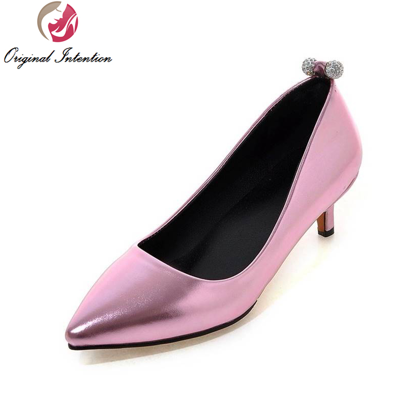 ФОТО Original Intention High-quality Women Pumps Popular Pointed Toe Thin Heels Pumps Gold Silver Pink Shoes Woman US Size 4-16