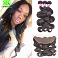 West Kiss Virgin hair With Closure 13x4 Lace Frontal Closure With Bundles Peruvian body wave With Closure Bundles With frontal