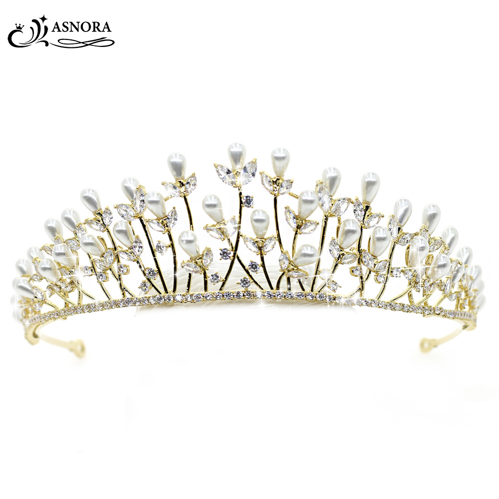 ASNORA Coroa de Noiva Simple Fashion Gold Crowns Wedding Tiaras Pearls Bridal Hair Accessories Wedding Jewelry tiara de noiva vestido de noiva flowers gelinlik сексуальное без бретелек свадебное платье vestidos de noiva халат платья без бретелек платье невесты