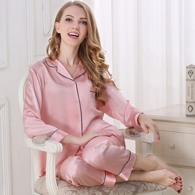 6 цветов, 100% шелковые пижамы, комплекты из двух частей, женские одноцветные с длинным рукавом, весенние модные женские розовые белые пижамы для сна и отдыха