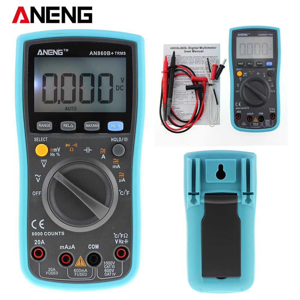 ANENG 6000 counts LCD Digital Multimeter DMM with NCV Detector DC AC Voltage Current Meter Resistance Diode Capaticance Tester excel dt9205a 3 lcd digital multimeter black orange 1 x 6f22