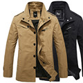 spring autumn mens jacket coat casual hot sale washed long style male cotton jackets turndown collar coat khaki blackm-3xl