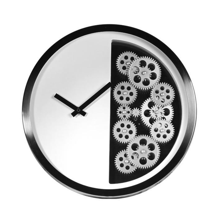 New16 inch Gear Wall Clock Half Clocks Hanging Clock Creative Personality of The Living Room Decorated Electronic Wall Clock