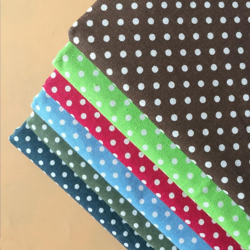 Polka Dot Printed Cotton Linen Patchwork Fabric Canvas Linen Cotton Diy Sewing Material Quilting Telas Fabric Various Colors