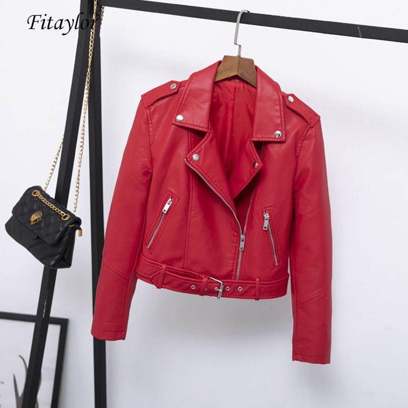 Fitaylor 2019 New Spring Women Faux Soft   Leather   Jacket Coat Slim Black Red Green Rivet Zipper Motorcycle Pu   Leather   Punk Jacket