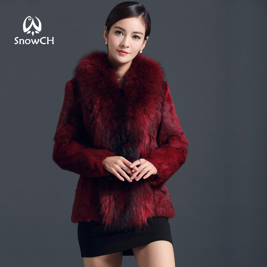 2018 New real rabbit fur coat with raccoon fur collar women full pelt rabbit fur jacket Free shipping customized big size F903
