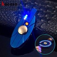 Rechargeable USB Fidget Spinner Finger Metal EDC Hand Spinner LED Both Sides Lighter Tri Spinner Cool