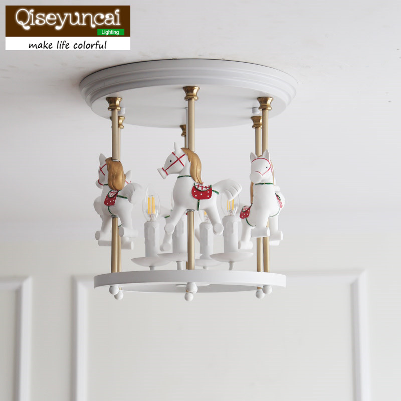 Lights & Lighting Ceiling Lights & Fans Qiseyuncai American Carousel Iron Childrens Room Ceiling Lamp Boy Girl Princess Bedroom Creative Lighting Free Shipping An Enriches And Nutrient For The Liver And Kidney