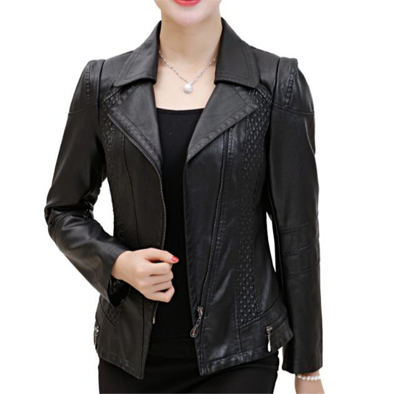 Ladies   Leather   Jacket 4Xl 5Xl 6Xl Black Red Pu   Leather   Jackets Female Slim Fashion Elegant Autumn Coat Plus Size A3885