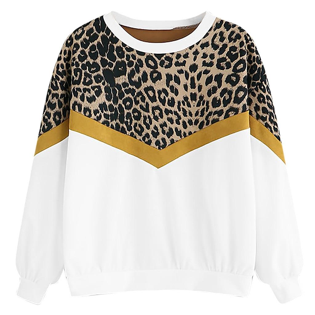 hoodies sweatshirt women 2019 New Fashion Womens Casual Long Sleeve Patchwork Leopard Print O-Neck Tops Sweatshirt