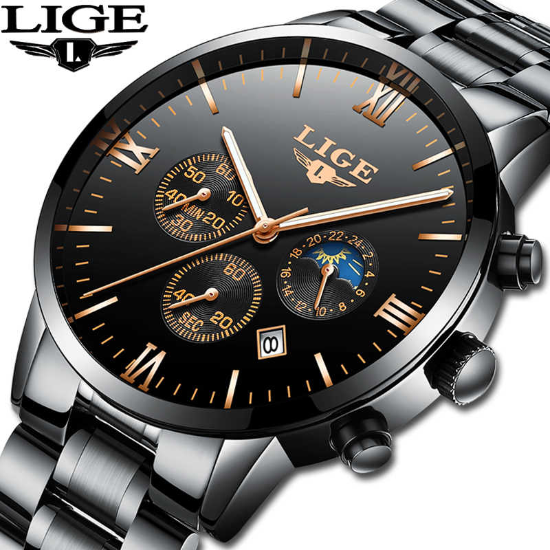 LIGE Watch Famous Men Fashion Quartz Clock Mens Watches Top Brand Luxury Full Steel Business Waterproof Watch Relogio Masculino