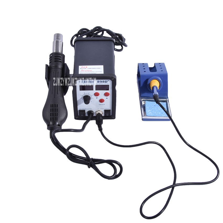 YIHUA 898D+ 2in1 SMD Rework Soldering Station Solder Iron with Heat Hot air Gun ESD Tips BGA Hot Air Nozzles yihua 898d 750w heat air gun soldering station solder iron free gift tweezers