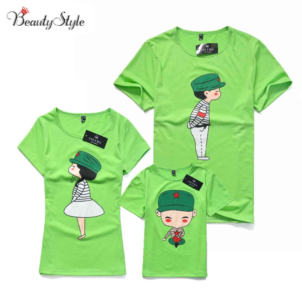 Family look fashion short sleeve shirts t shirt matching for Matching denim shirt and jeans
