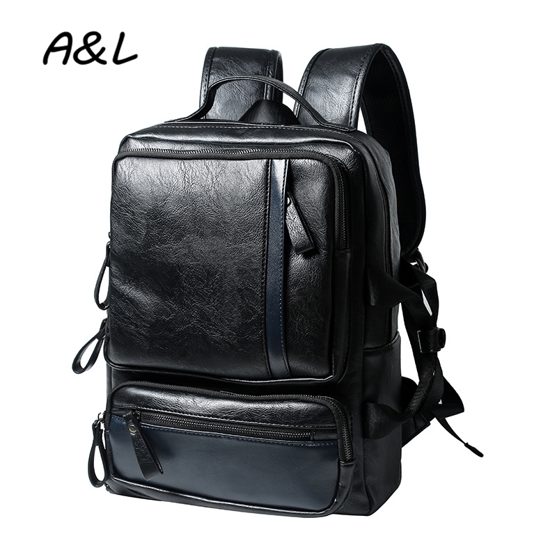 2016 Men Backpack Leather Brand Travel Bags Men Laptop Bag Vintage Casual School Backpacks for Teenagers Mochila Masculina A0202