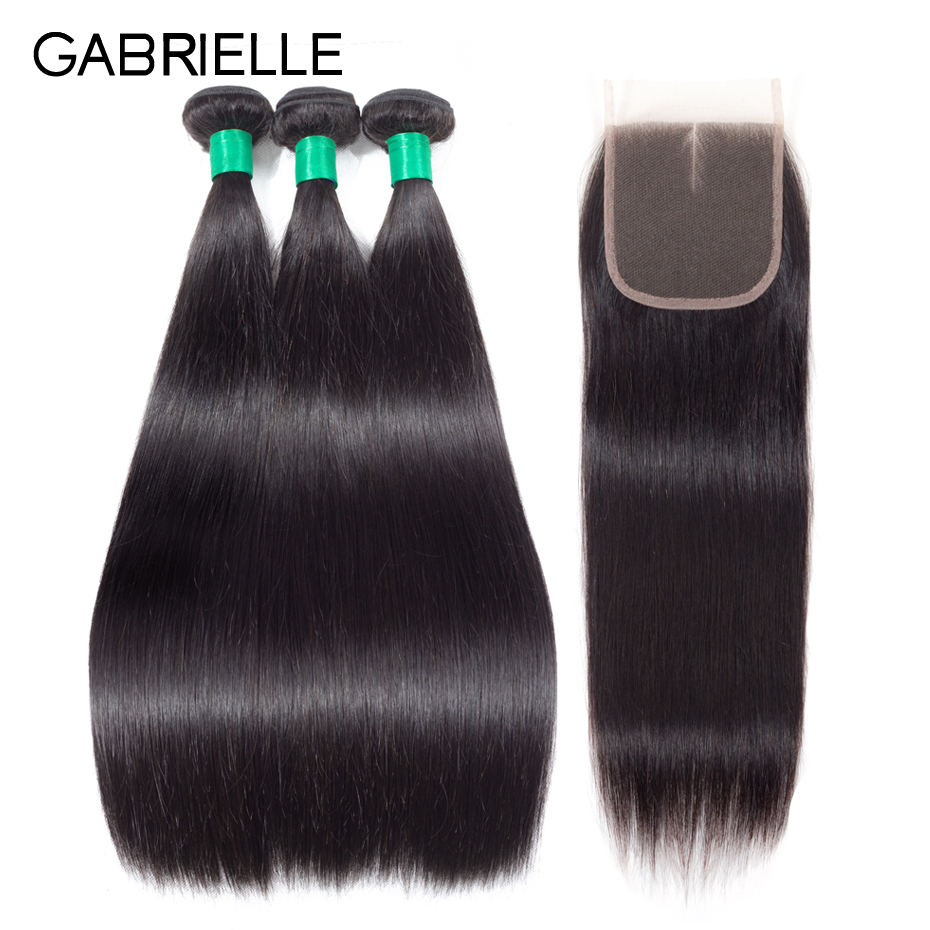 Gabrielle Peruvian Straight Human Hair 3 Bundles with 4x4 Lace Closure Free Middle Three Part Natural