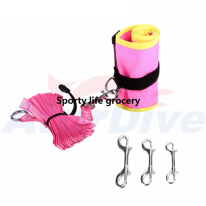 цена на SMB underwater safety signal dive Buoy float inflate tube 1.2Mx18cn diver below sausage with safety rope & steel buckle
