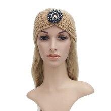 Женщины Вязание Жемчужина застежкой трикотажные диапазон волос Оголовье Ручной Согреться Hairband