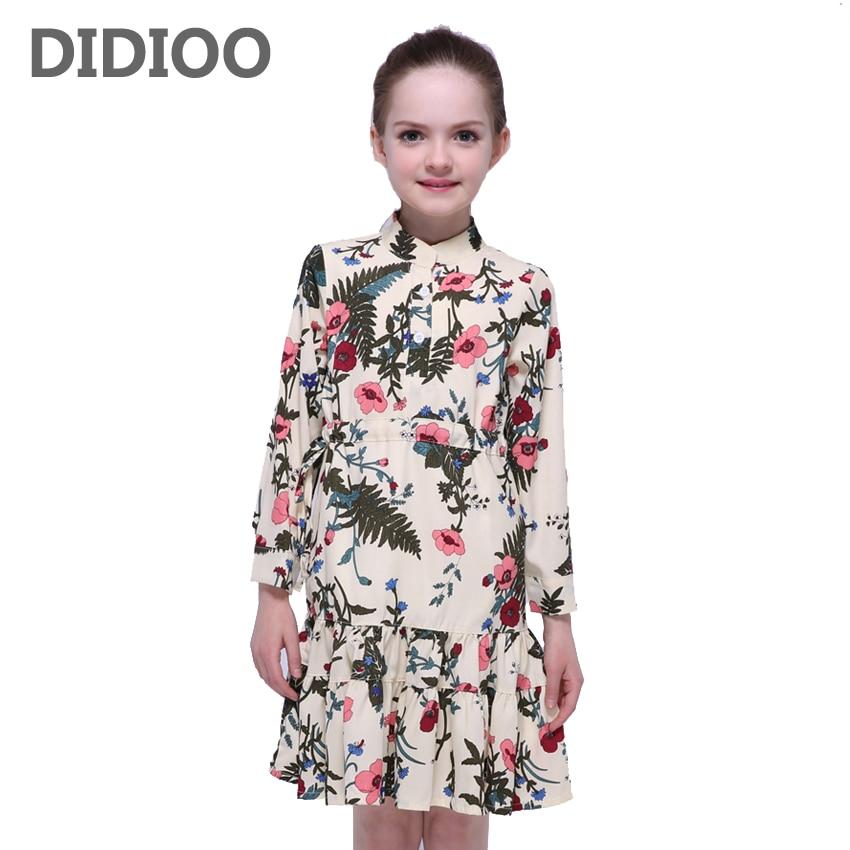 Kids Dresses for Girls Long Sleeve Floral Dresses Children Autumn Vestidos Infantil 4 8 9 10 12 Years Girls Print A Line Dresses