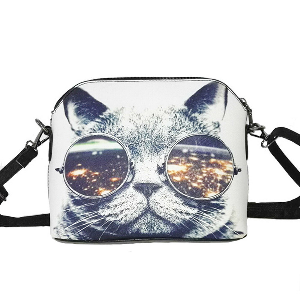 Hot sale Cats Printing women Handbags Shell bag women PU leather messenger bags new arrival women cross-body bags