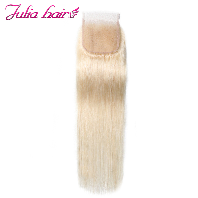 Ali Julia Blonde 613 Lace Closure 100 Brazilian Straight Human Hair Free Part 4 4 Inches
