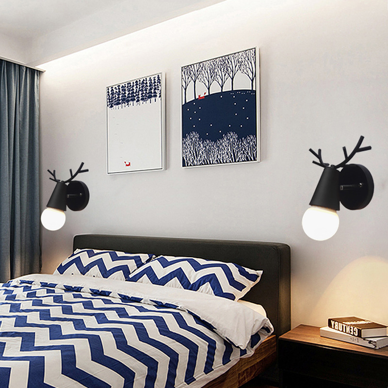 Nordic Vintage Antler Wall Lamp Contemporary Art Dec Black White Wood Antler Wall Light Sconce Bedside Reading Adjustable Arm Light Bedroom Wall Lamp (19)