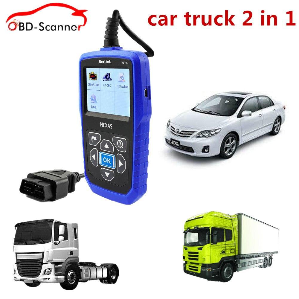 Цена за Nexlink NL102 OBD2 Дизель грузовик диагностический сканер универсальный автомобиль тяжелый грузовик 2 в 1 OBD2 EOBD диагностический инструмент авто сканер