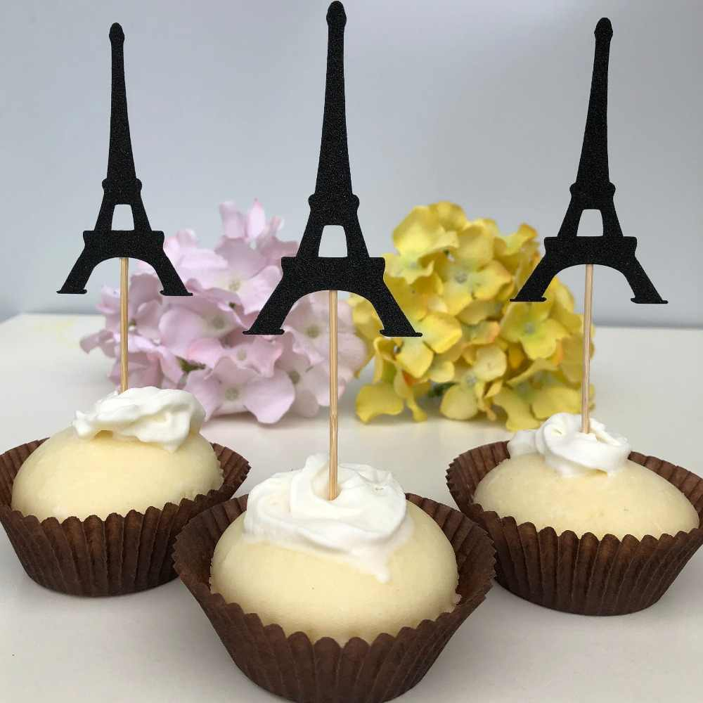 16 Paris Party decorations Tower cupcake toppers bridal shower baby girl wedding anniversary food decor