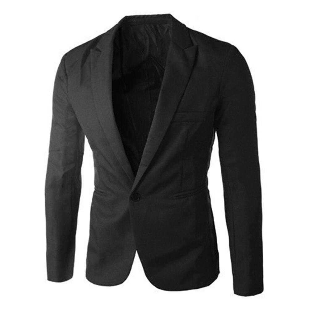 Men Fashion Solid Color Casual Business Suit Blazer Jacket Autumn Outwear Top