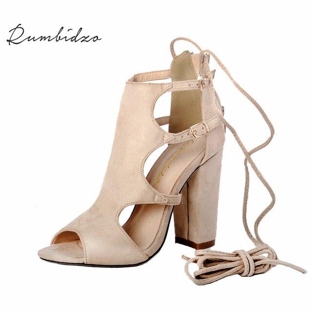Rumbidzo 2018 moda mujer Bombas verano Gladiator peep toe Tacones altos  Zapatos recortes Encaje hasta sandalias 07a51e771a61