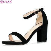 QUTAA 2017 Women Sandals Square High Heel Crystal Platform Women Shoes Summer Ankle Strap Ladies Wedding