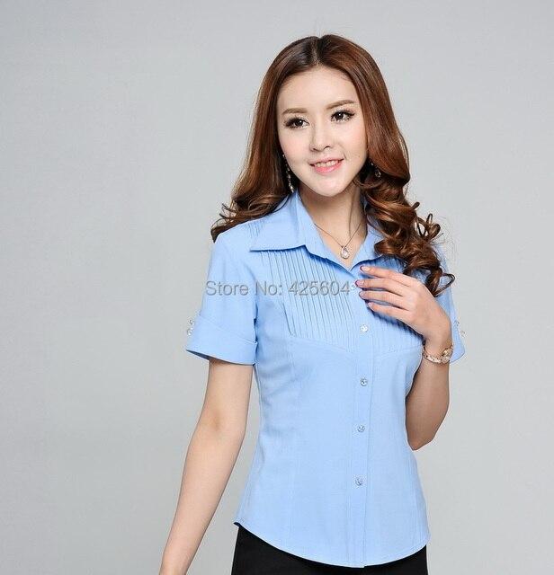 86caab651a645 Formal elegante camisa azul mujer de estilo uniforme de manga corta de  verano 2015 trabajo blusa