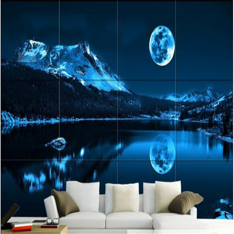 Beibehang Beautiful Romantic Moon Lake Night Sky Modern Minimalist  Background Wall Decoration Custom Wallpaper Murals In Wallpapers From Home  Improvement On ... Part 49