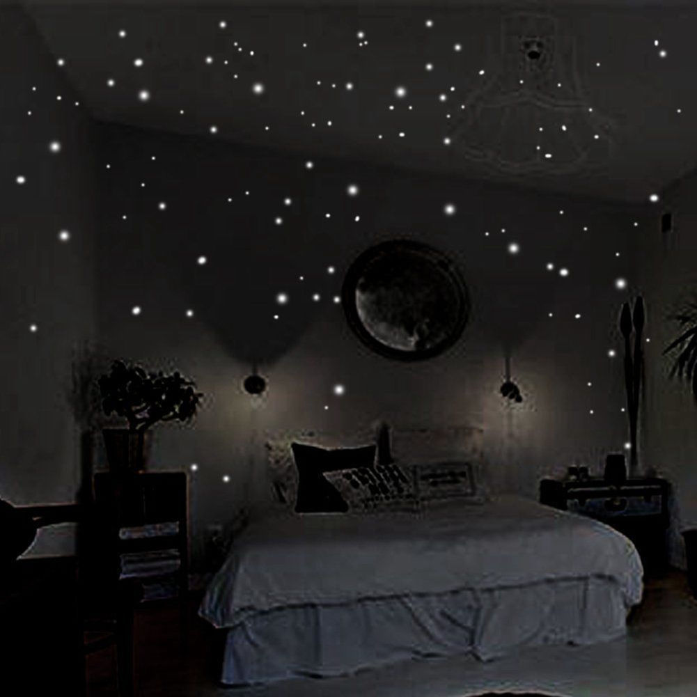 Stickers Luminous Romantic Vinyl Dark-Star Party The-Night Glow-In-The-Round-Dot Wall